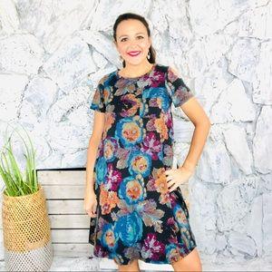 LuLaRoe LLR Carly Stretch Short Sleeve Dress Small